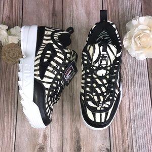 Fila Zebra Print Leather Platform Sneakers 8M